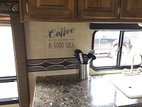 Coffee Wall Decal Vinyl Lettering in Camper Small Size Storm Gray