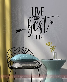 Motivational Healthy Living Wall Decor WD1047 Live Your Best Life Inspirational Wall Stickers Vinyl Decals Health Quote Black