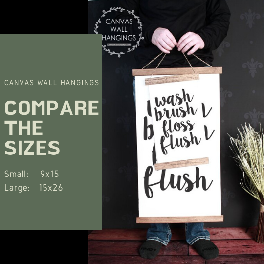 Compare the two sizes Small and Large for this vertical canvas wall hanging