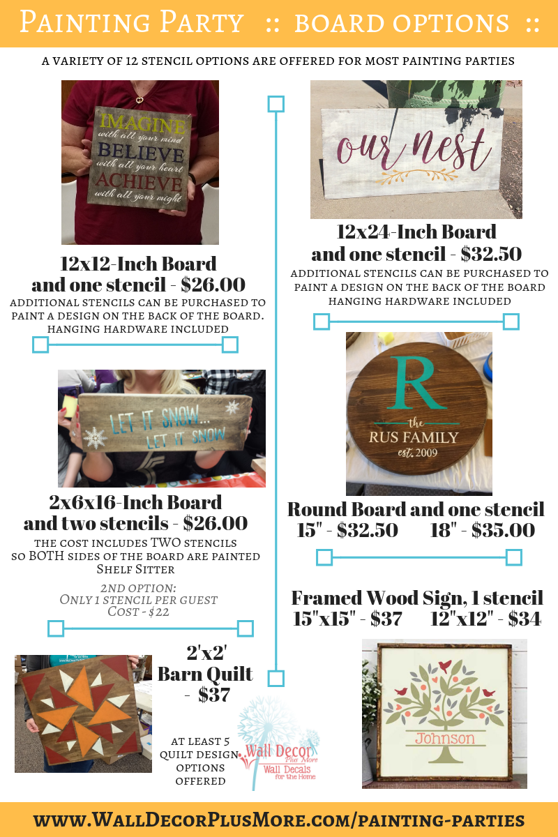 Painting Party Wood Sign Options