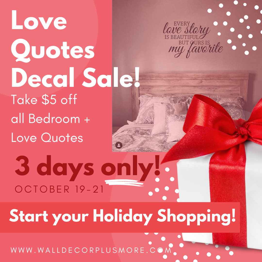 $5 off Sale! 3 Days Only : October 19 - 21 : Love Quotes
