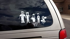 Stick People Stickers on van Fam6 Stick People Car Decal Stickers