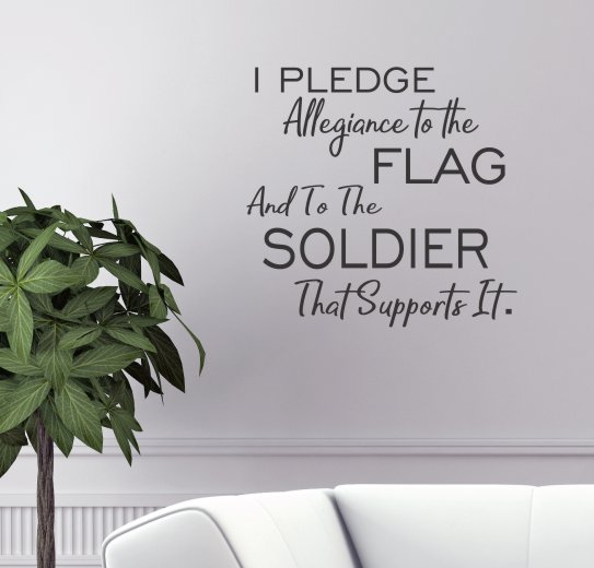 WD1075 Pledge Allegiance to Flag and Soldiers Patriotic Military Wall Decals Vinyl Stickers