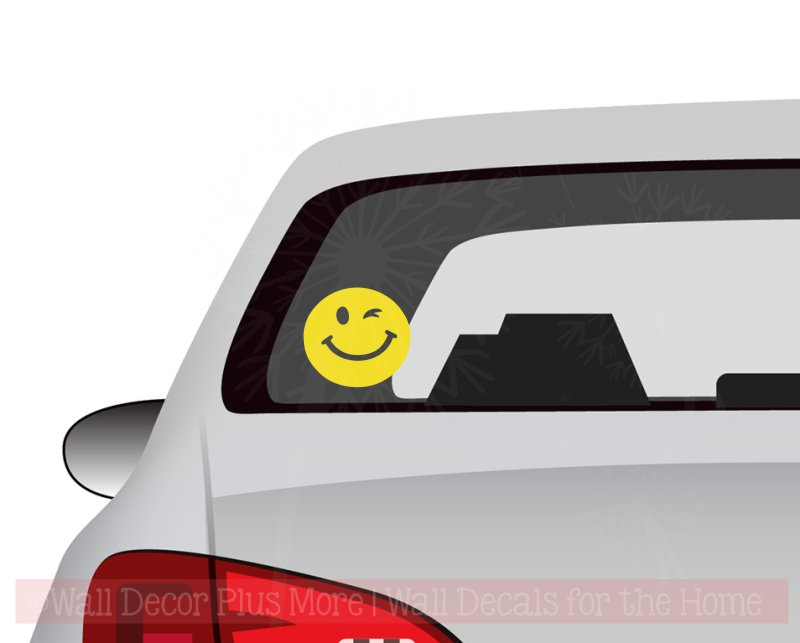 Smiley Wink Car Window Decal in Yellow
