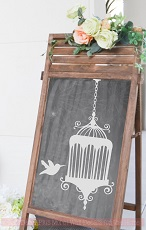 WD1282 Bird and Cage Wall Art Stickers Wedding Celebrations Wall Decor Vinyl Decals Chalkboard
