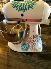 WD713 2-color Flower Burst Kitchenaid Mixer Decals Sticker Glossy Vinyl Decor (1)