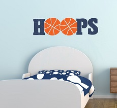 WD874 HOOPS Basketball Wall Decals Vinyl Lettering Sports Bedroom Decor 40x11 Deep Blue-Orange Sports Wall Decals