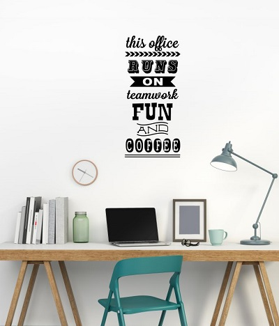 WD936 This Office Runs On Office Wall Vinyl Decals Lettering Stickers Quote