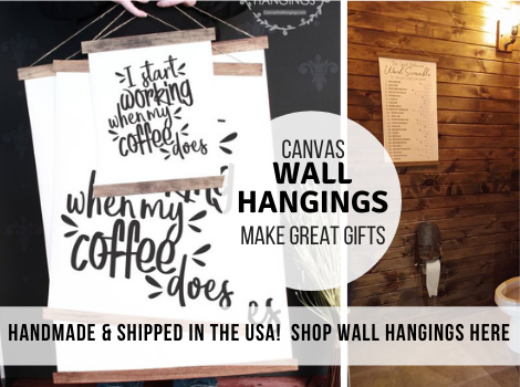 Our handmade in the USA Canvas Wall Hangings are modern, beautiful and ship free! Gift these easy to hang Canvas Wall Hangings this holiday season!