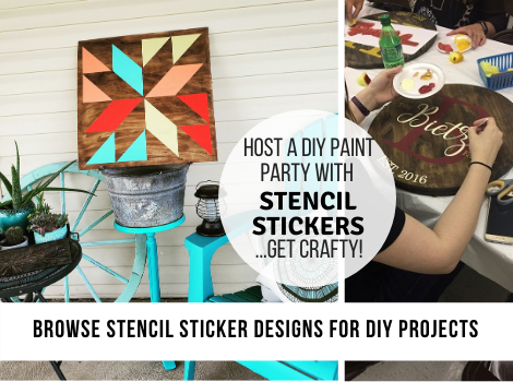 Click here for decal stickers and stencil ideas for DIY Gift Giving. Barn Quilts, Bean Bag Boards, Handmade Signs