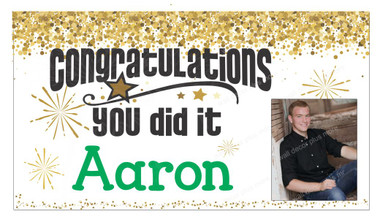 graduation congratulations banner sign printed with name and photo