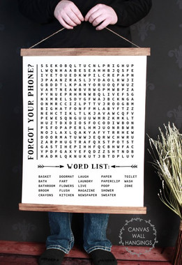 Wood Amp Canvas Wall Hanging Bathroom Word Search Forgot