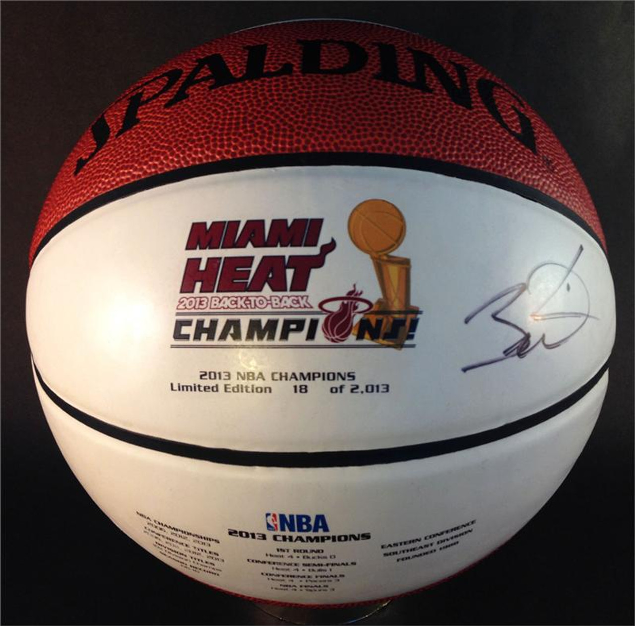 meet 2ac8d 2fe3f Dwyane Wade Autographed Miami Heat 2013 NBA Championship Basketball