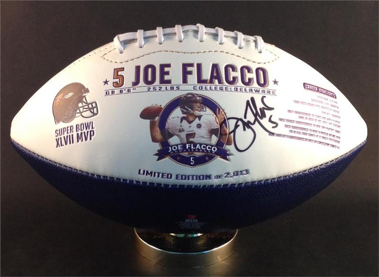358e0a110b5 Joe Flacco Autographed Baltimore Ravens Commemorative Football ...