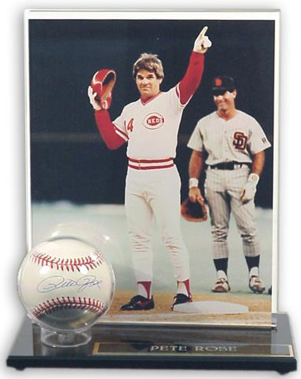 Acrylic Single Baseball Display Case With Photo Holder