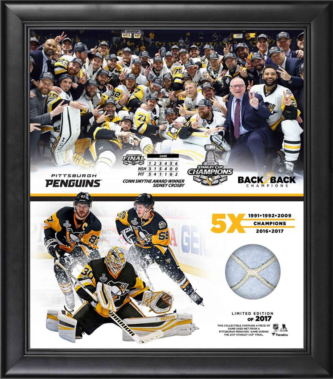 new arrival b201d a233e Pittsburgh Penguins NHL Stanley Cup Championship Framed Piece w/ Game-Used  Netting