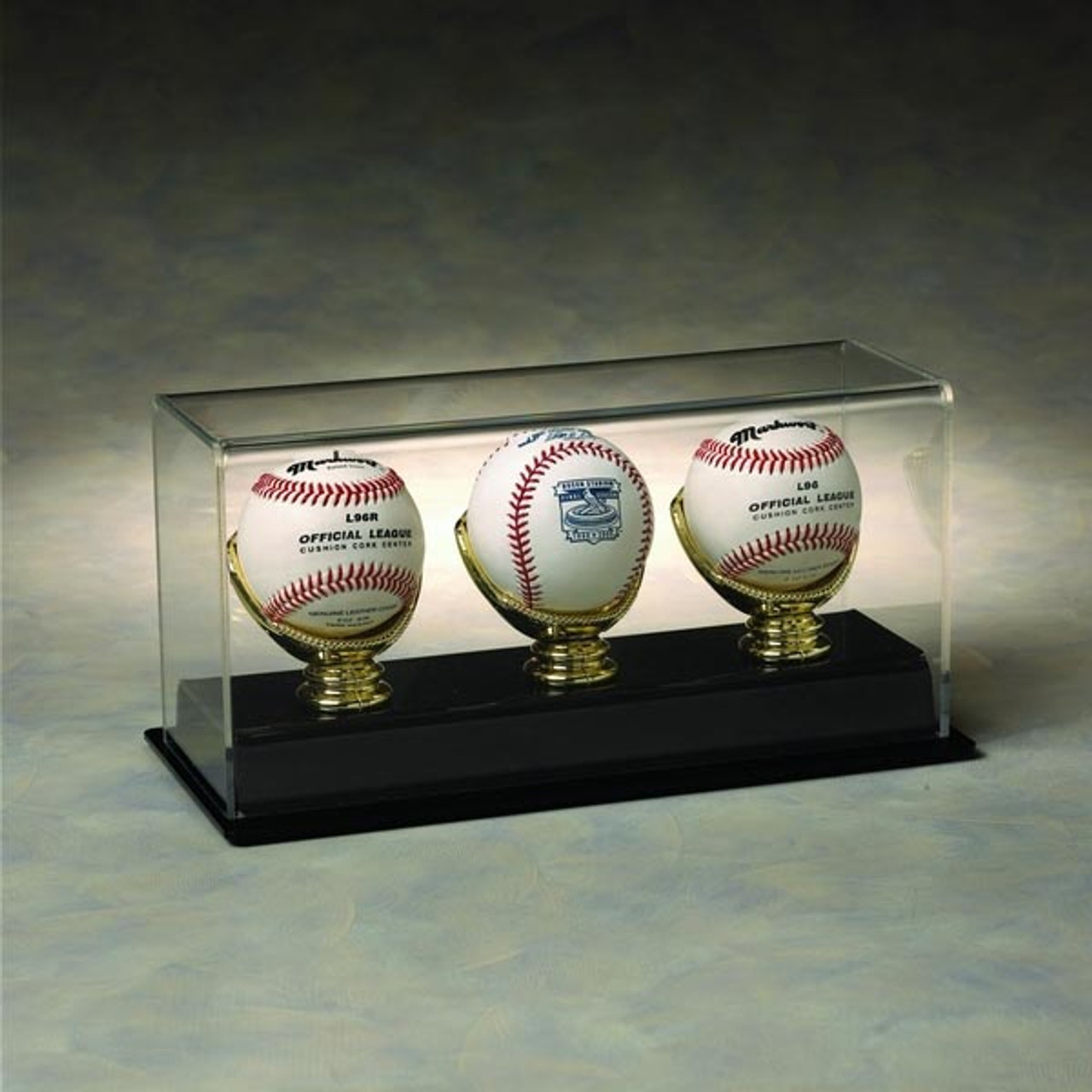 3 Baseball Display Case With Golden Glove Ball Holders Nikco