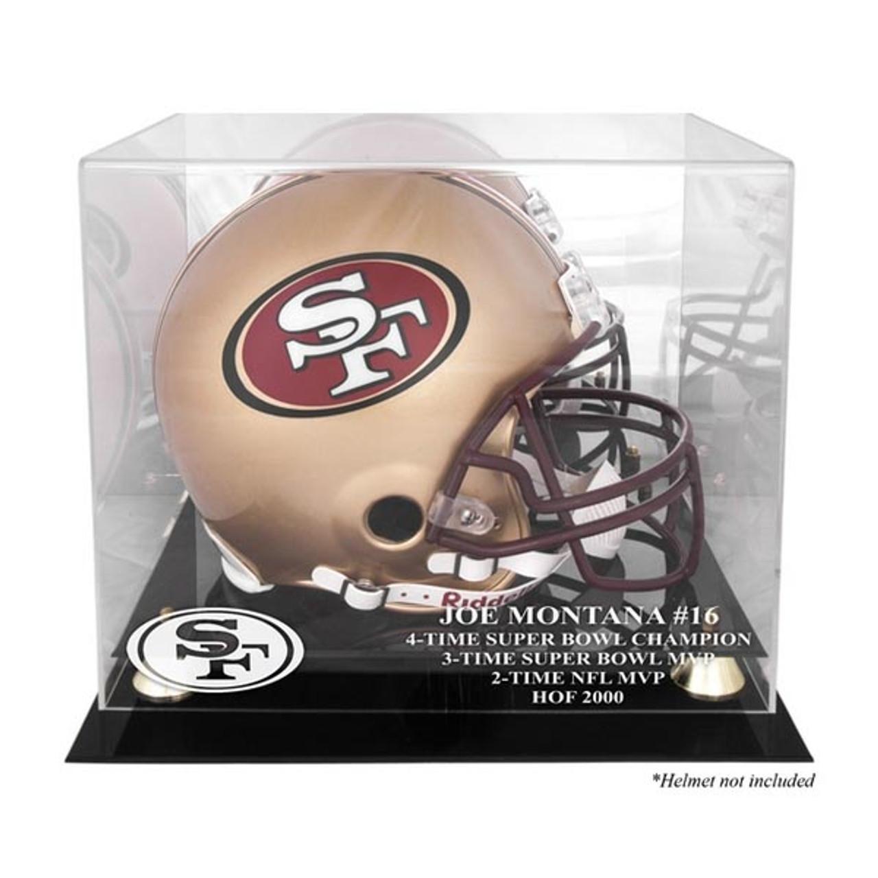 b7b8805ccd7 Golden Classic Football Helmet Joe Montana Hall of Fame 2000 Display Case