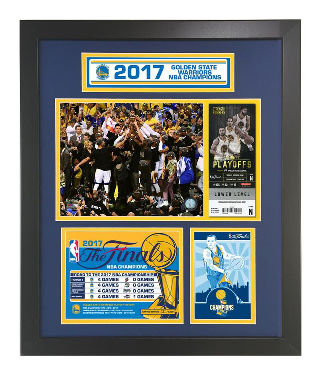2e16a375 Golden State Warriors 2017 NBA Champions Framed Piece Signed by Steph Curry