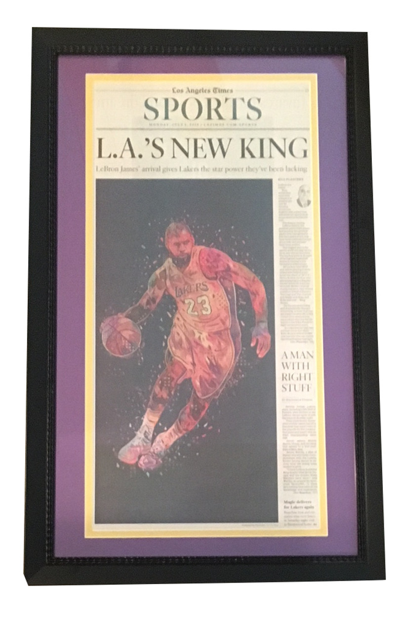 22060c2aa LeBron James Los Angeles Lakers LA Times Framed Basketball Newspaper NEW  KING