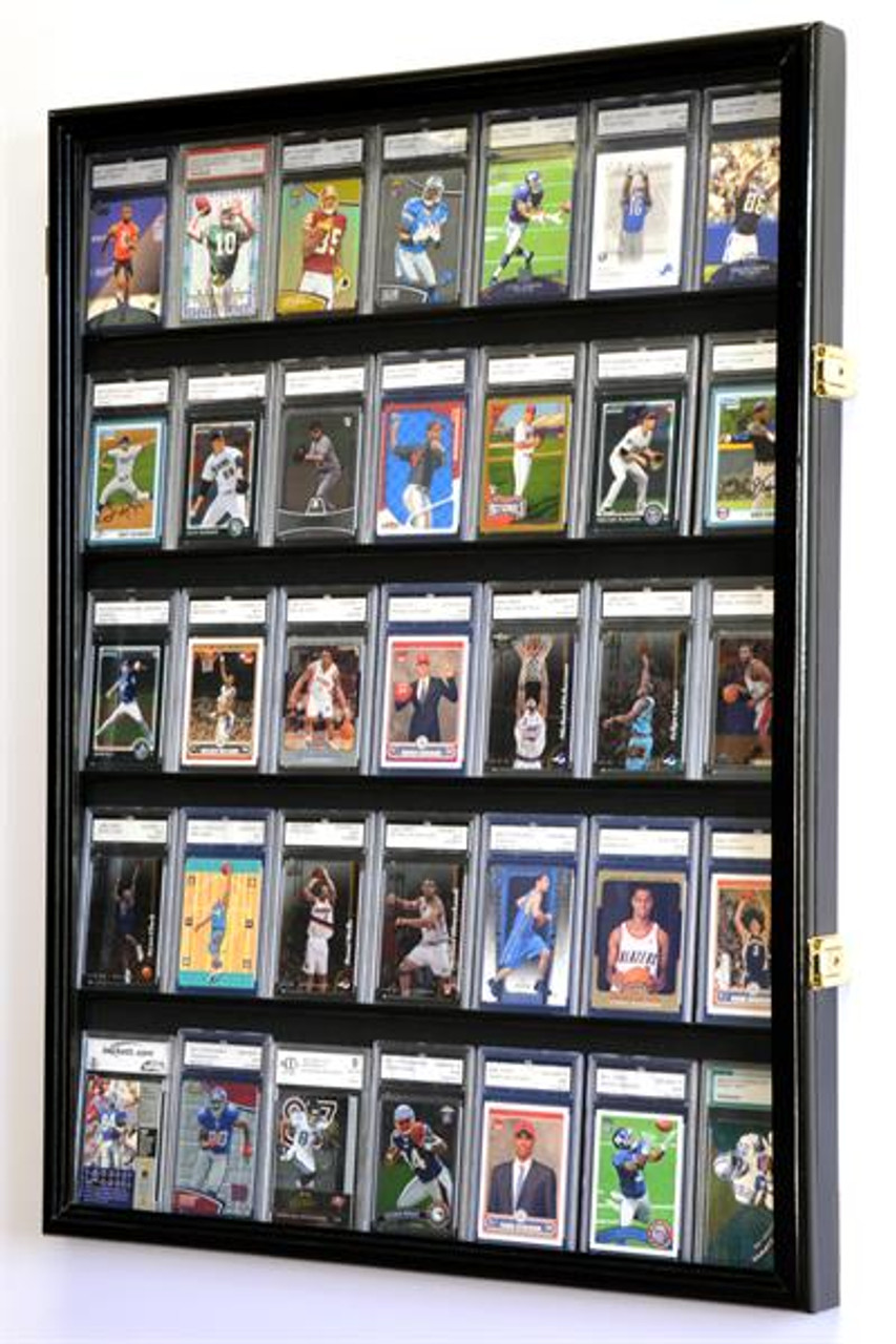 35 Graded Sport Cards   Collectible Card Display Case Wall Cabinet w 98% UV d61411942