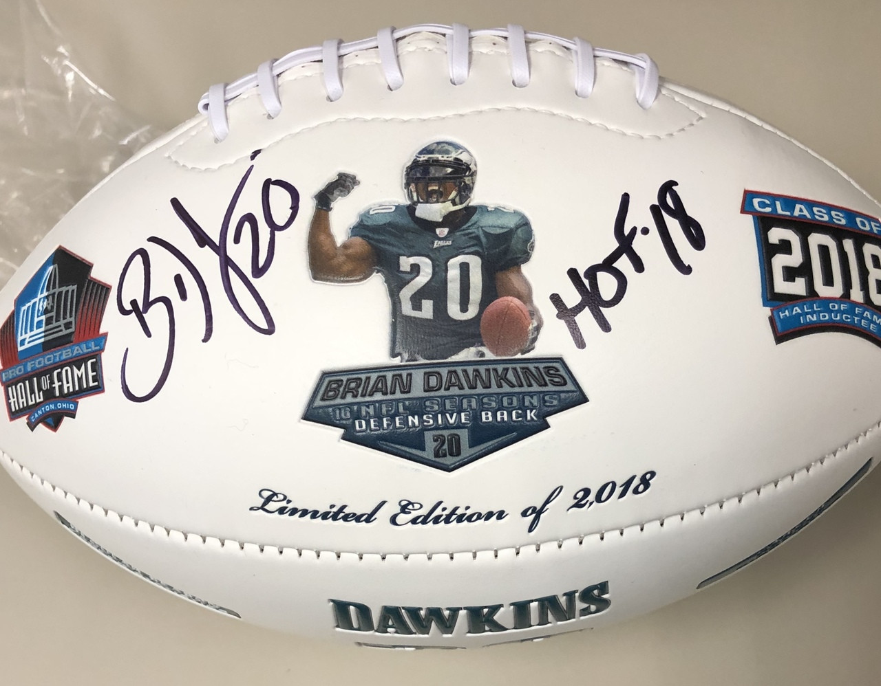 san francisco c6739 04cfb Brian Dawkins Autographed HOF Commemorative Football - Inscribed