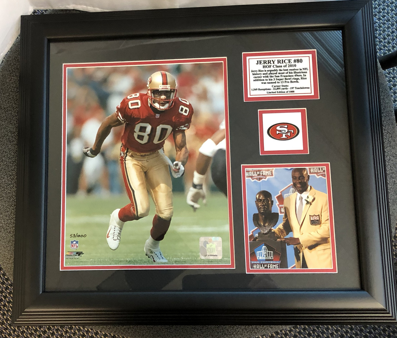 74b56fce677 Jerry Rice HOF Commemorative Photo Plaque - Nikco Sports