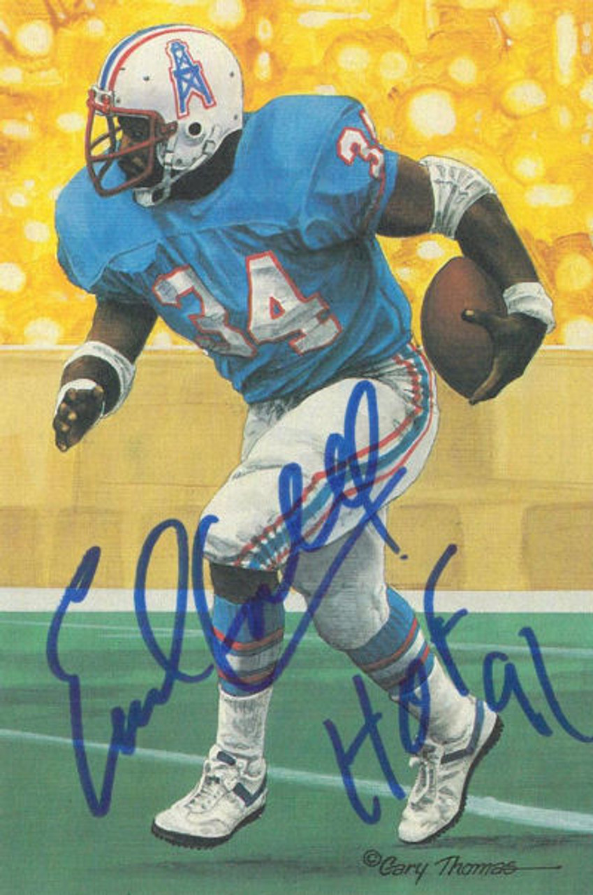 b5a12099606 Earl Campbell Autographed Houston Oilers Goal Line Art in Blue w HOF 91