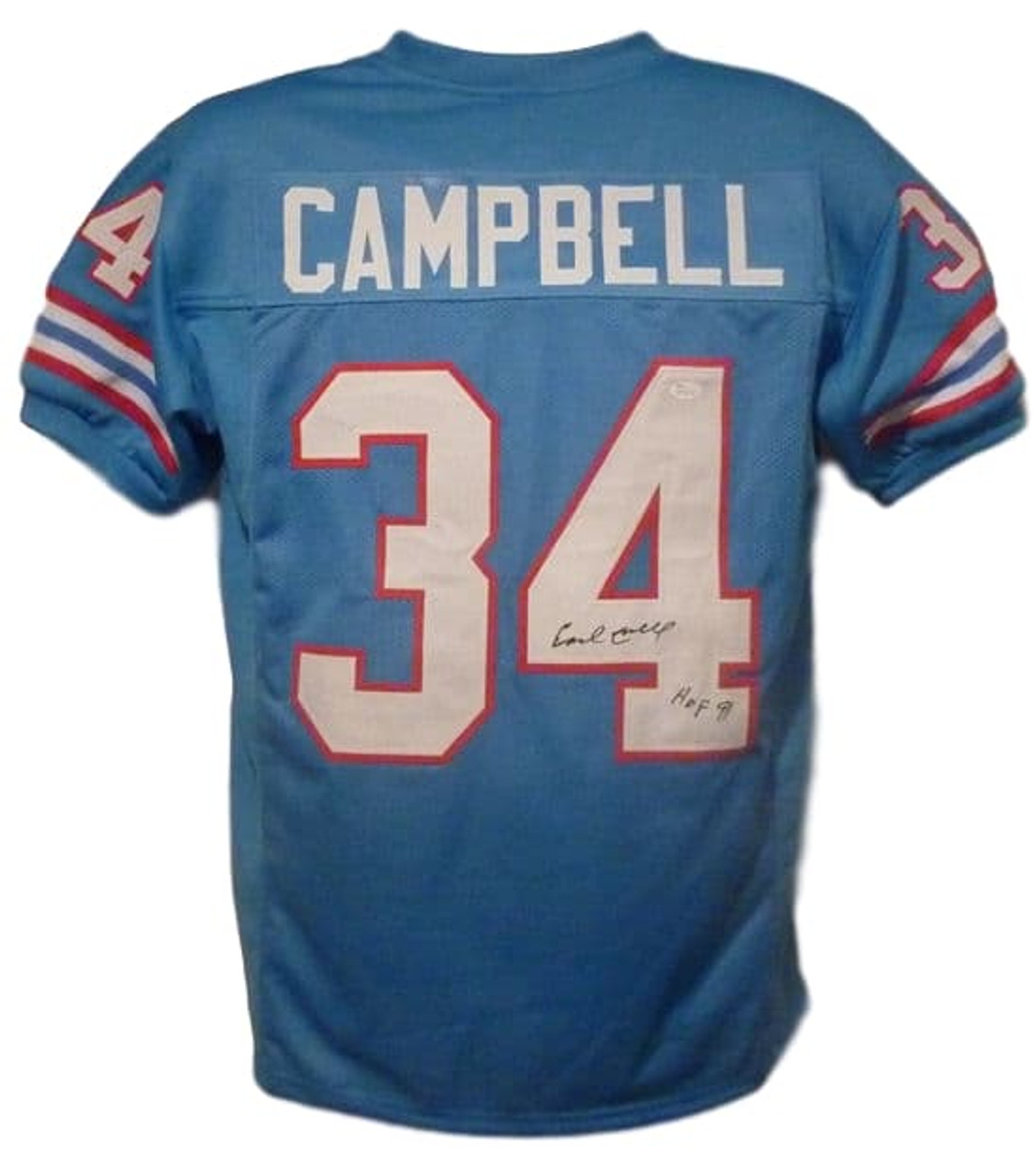 the latest e3f01 c41f3 Earl Campbell Autographed Houston Oilers XL Blue Jersey HOF JSA