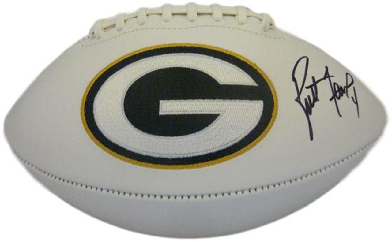 online store 9c49e 1e752 Brett Favre Autographed Green Bay Packers White Panel Football PSA/DNA