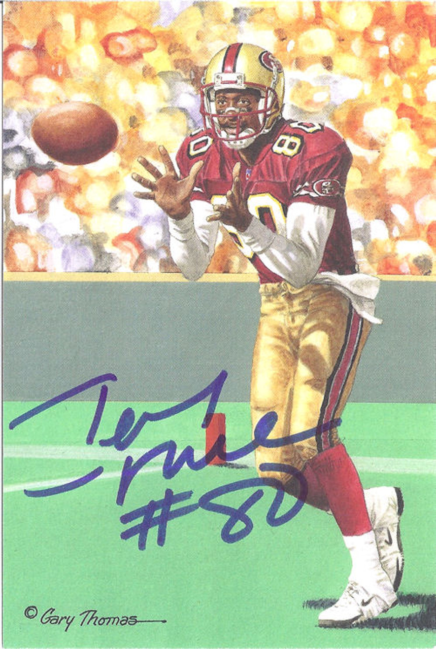 low priced 75643 6b0ea Jerry Rice Autographed San Francisco 49ers Goal Line Art Card in blue