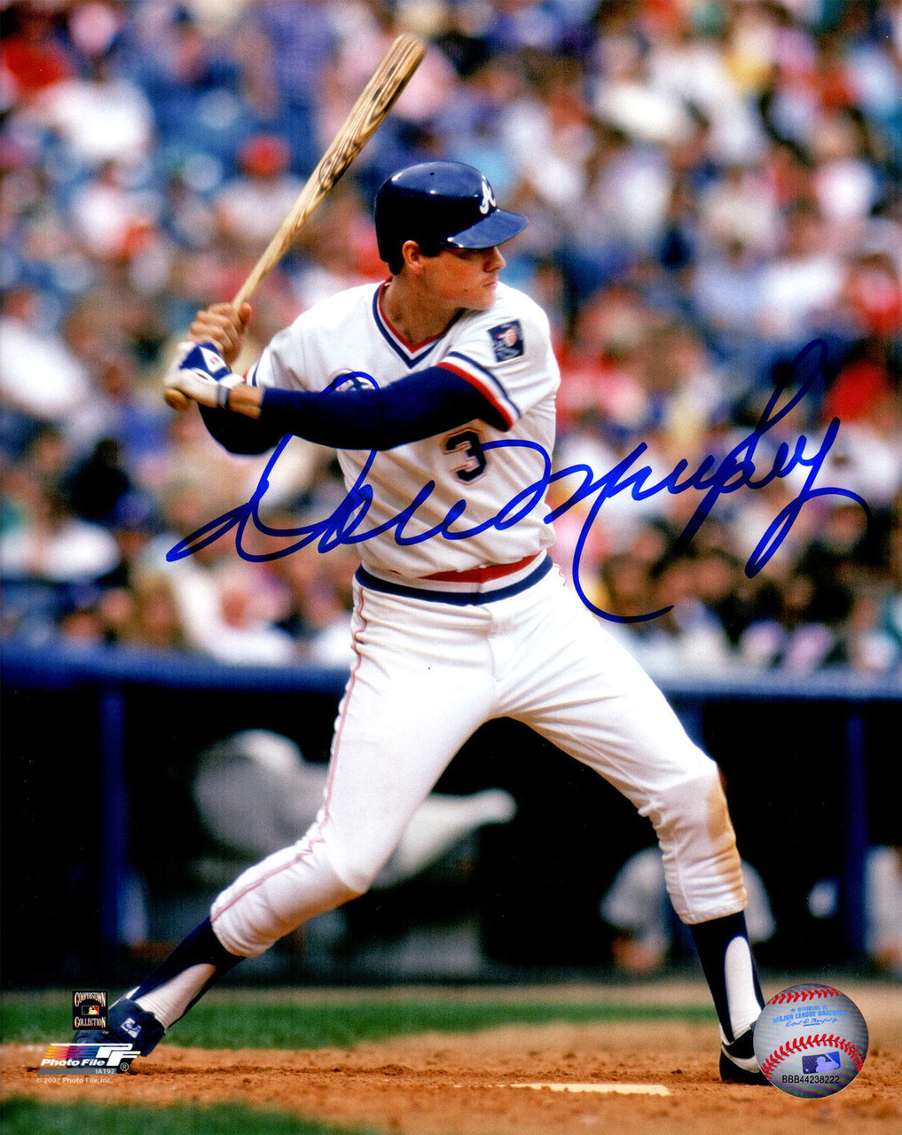 new concept f62c6 673a1 Dale Murphy Signed Atlanta Braves White Jersey Batting Action 8x10 Photo