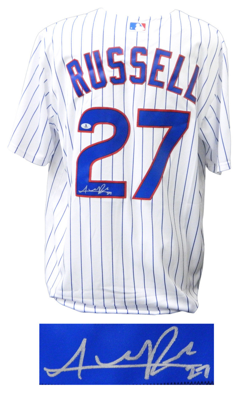 8d90bc6ec Addison Russell Signed Cubs White Pinstripe 2016 World Series Patch Majestic  Jersey