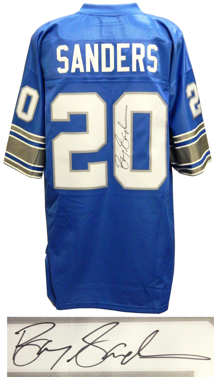 newest 89c4a 3ff93 Barry Sanders Signed Lions Blue NFL Pro Line Vintage Premier Jersey