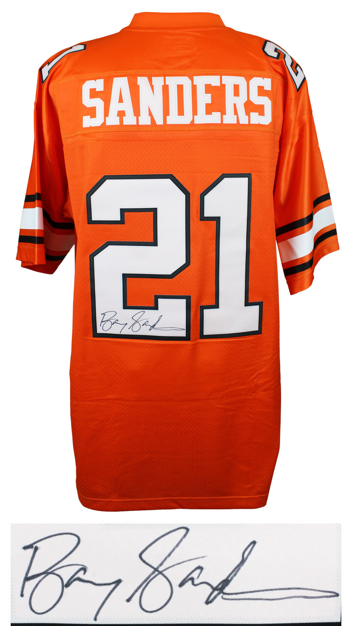 newest 14285 5a594 Barry Sanders Signed Oklahoma State Throwback Orange Premier Jersey