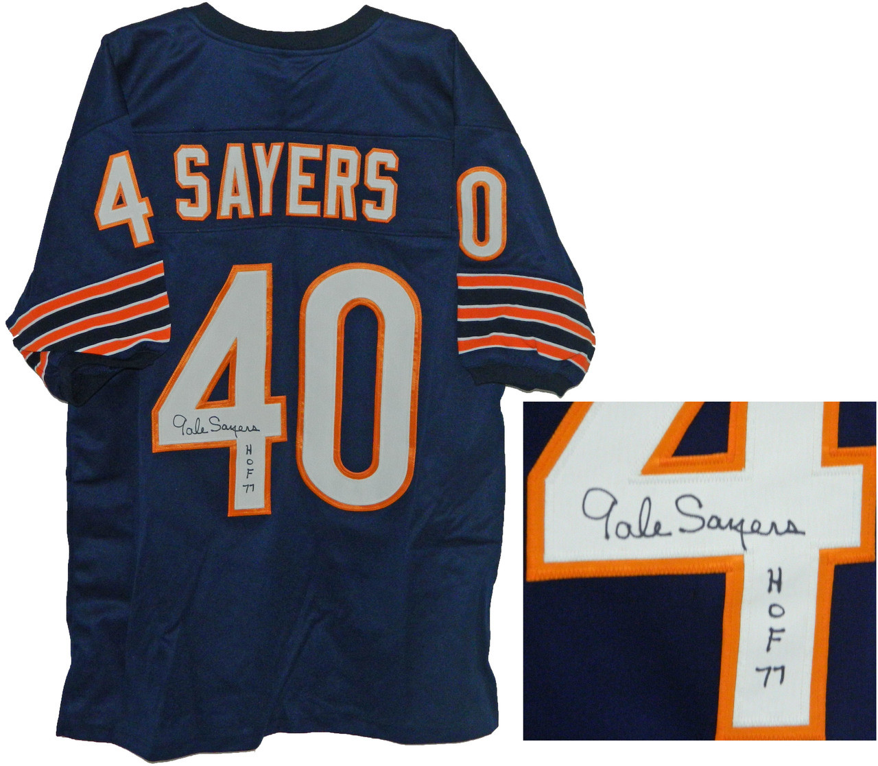 new style 4b7b1 12d34 Gale Sayers Signed Navy Custom Jersey w/HOF 77