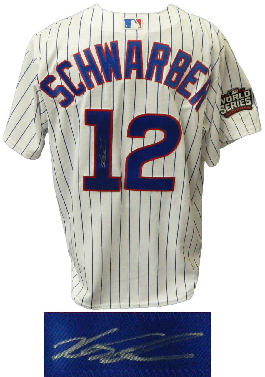 604eaa40c20 Kyle Schwarber Signed Cubs White Pinstripe 2016 World Series Patch Majestic  Jersey