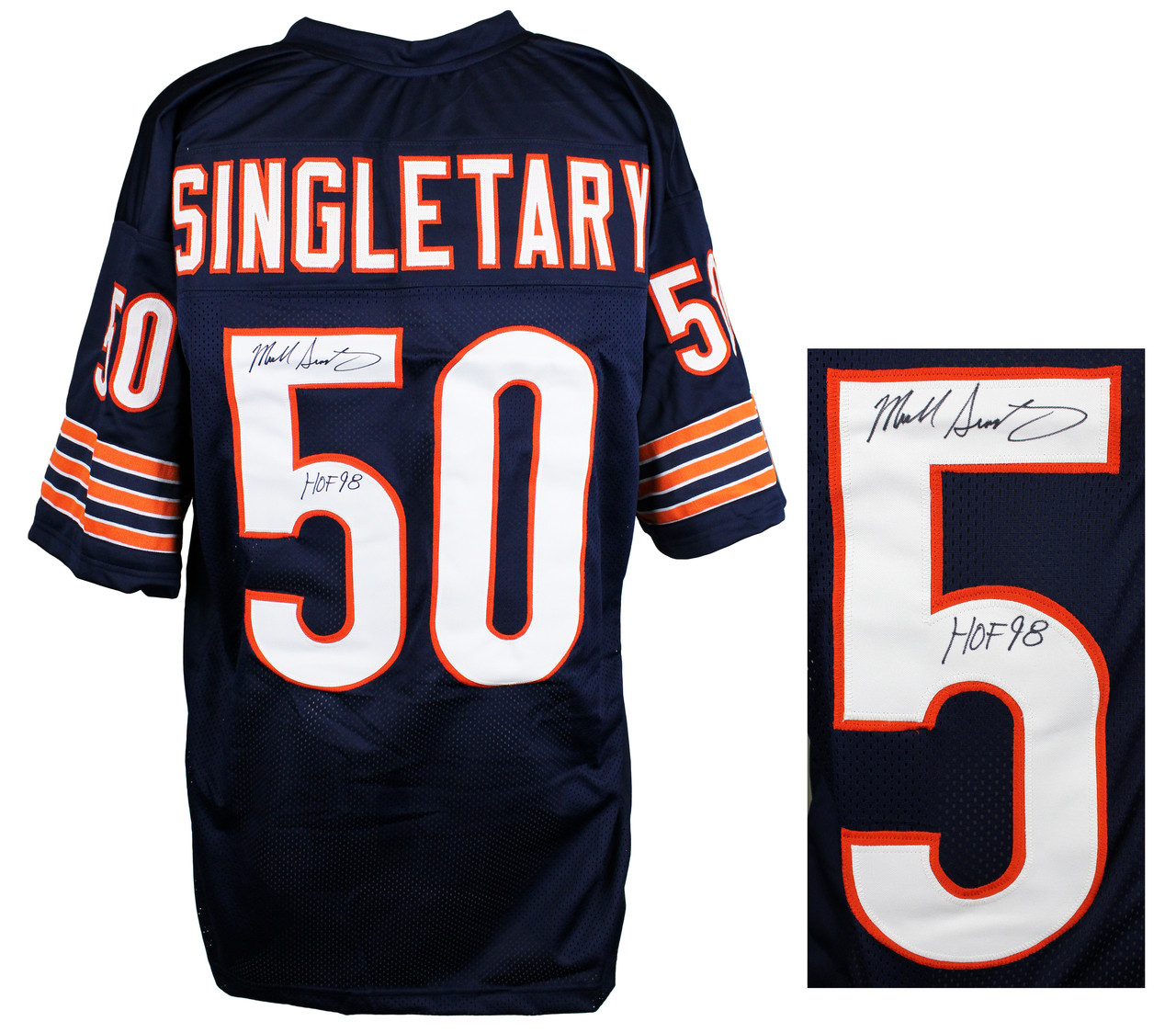 pretty nice dae08 178b1 Mike Singletary Signed Navy Custom Jersey w/HOF 98