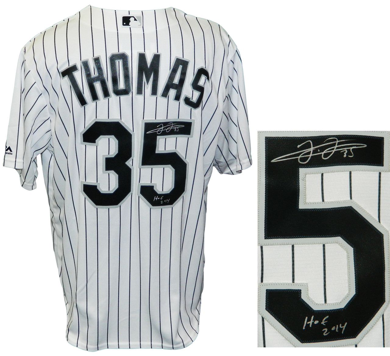 innovative design e1695 ae808 Frank Thomas Signed Chicago White Sox Majestic White Pinstripe Jersey w/HOF  2014