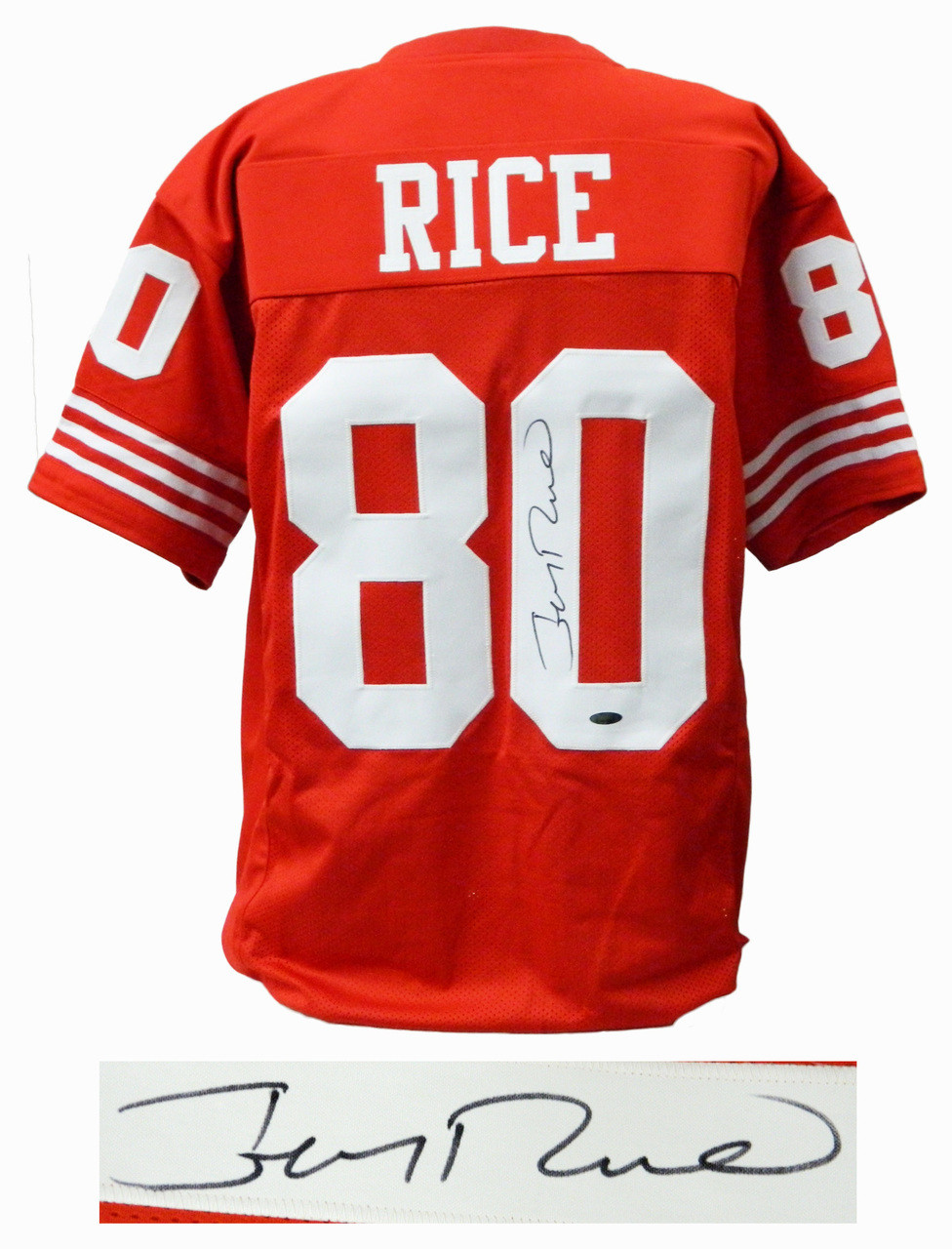 ff54d512cee Jerry Rice Signed Red T B Custom Football Jersey - Nikco Sports