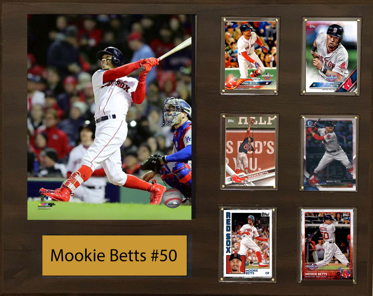 Mookie Betts Boston Red Sox 16x20 Plaque 8x10 Action Photo And 6 Baseball Cards