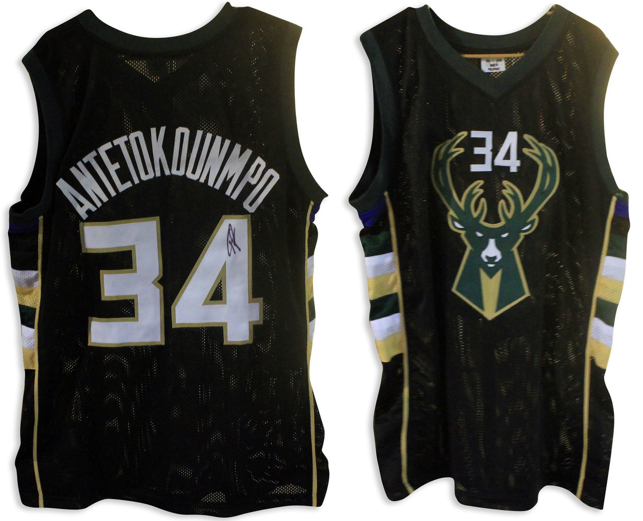 buy online 5cd84 cde8d Giannis Antetokounmpo Signed Milwaukee Black Jersey