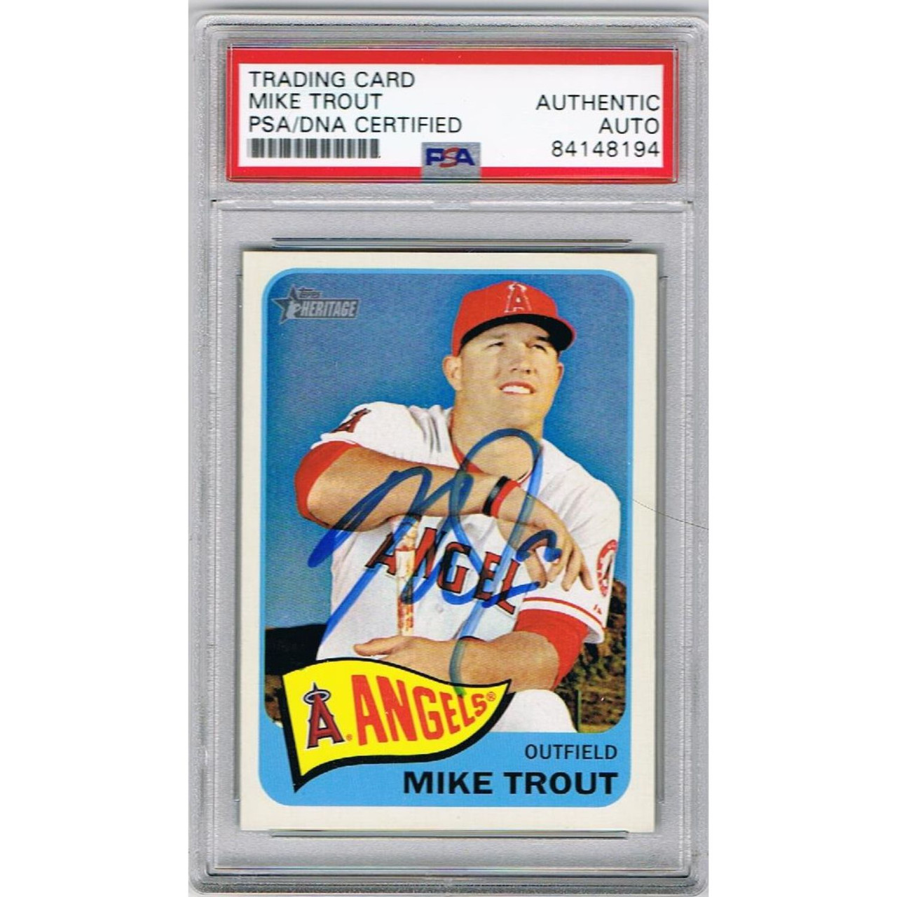 buy popular 7be5c c3833 Mike Trout Los Angeles Angels Autographed 2014 Topps Heritage Baseball Card