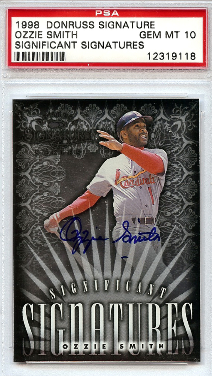 Ozzie Smith St Louis Cardinals Autographed 1998 Donruss Baseball Card Graded 10 Psadna