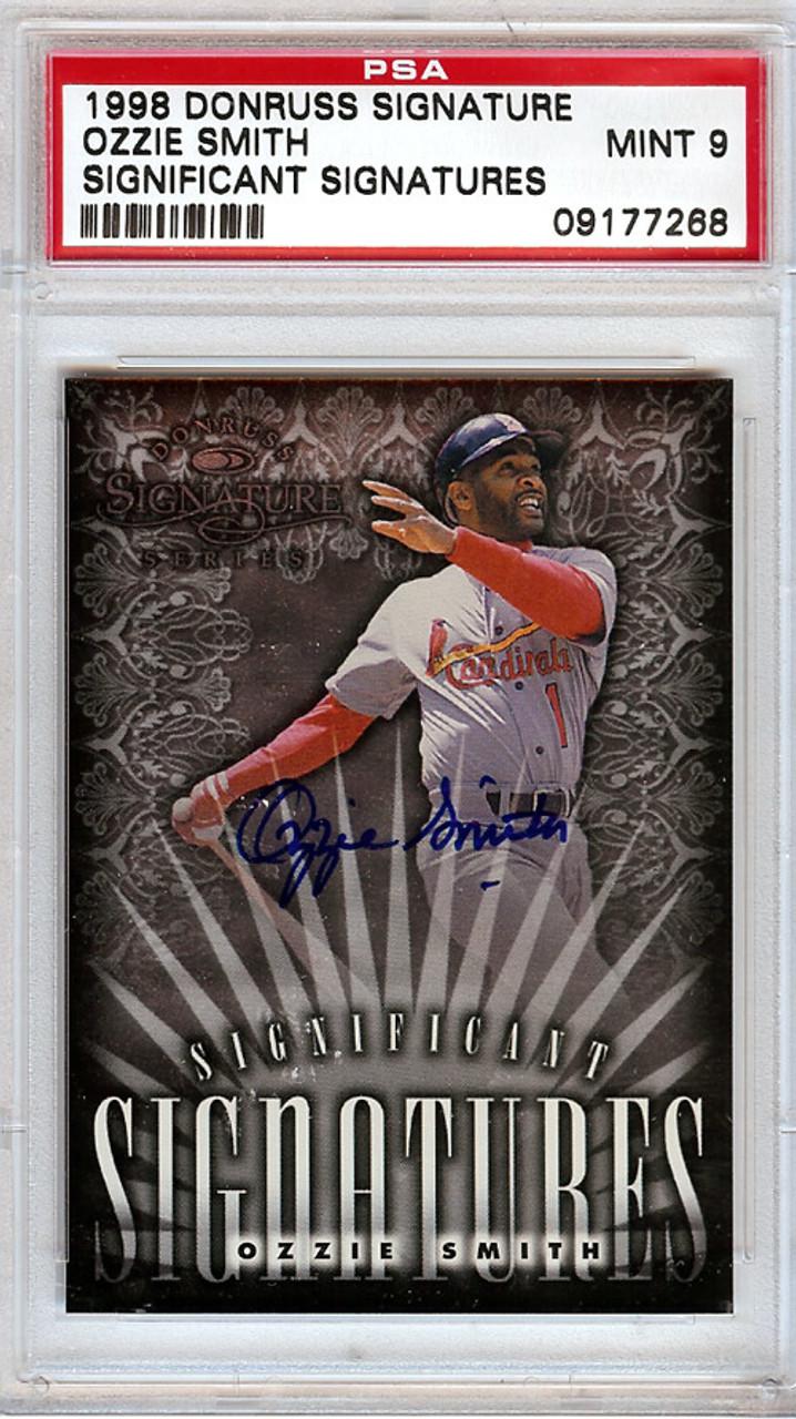 Ozzie Smith St Louis Cardinals Autographed 1998 Donruss Baseball Card Graded 9 Psadna