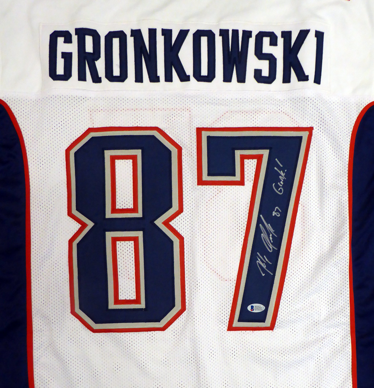 new product 6d100 e7853 Rob Gronkowski Autographed New England Patriots White Custom Jersey