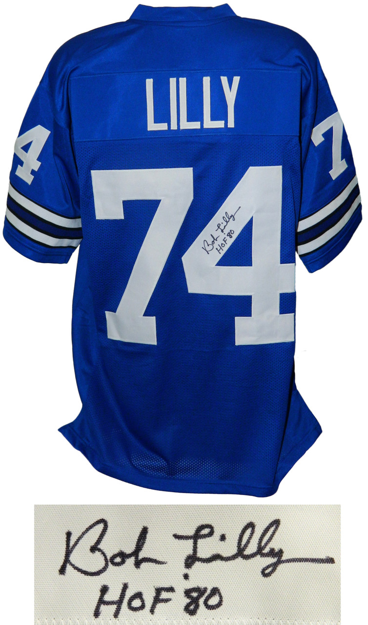 hot sale online 2f047 be552 Bob Lilly Signed Blue Custom Throwback Football Jersey w/HOF'80