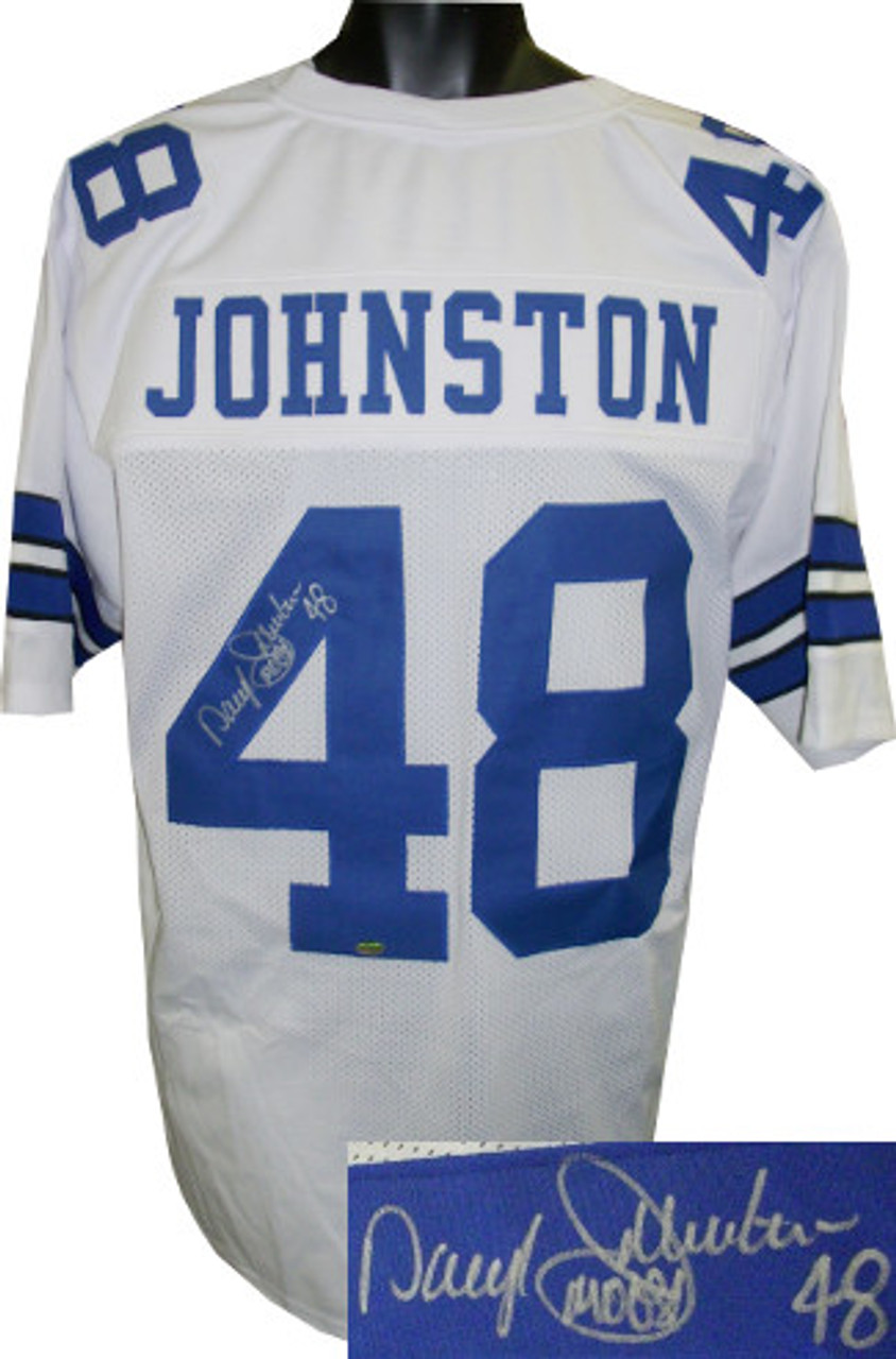 promo code 80d25 36a67 Daryl Johnston Dallas Cowboys Autographed White Custom Stitched Pro Style  Football Jersey inscribed