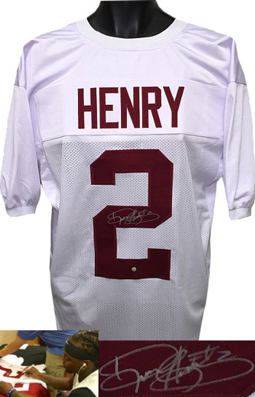newest collection 54f70 4d2e1 Derrick Henry Alabama Crimson Tide Autographed White Custom Stitched  Football Jersey #2 XL - Steiner Hologram