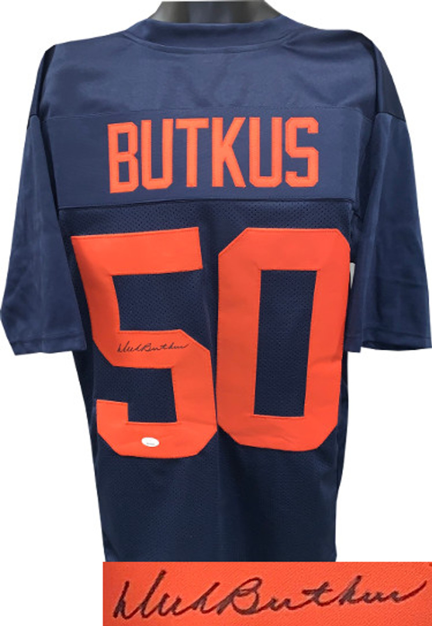 on sale d002a 251c4 Dick Butkus Fighting Illini Autographed Navy Throwback Custom Stitched  College Jersey XL - JSA Witnessed Hologram